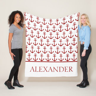 Nautical Red Anchors on White Personalized Fleece Blanket