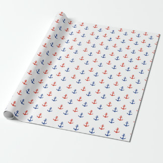 Nautical Red and Blue Anchors Wrapping Paper