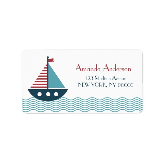 Nautical red and blue boat BABY SHOWER BIRTHDAY Label