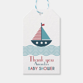 Nautical red and blue boat BABY SHOWER Pack Of Gift Tags