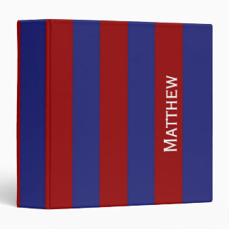 Nautical Red and Blue Stripe Personalized Binder