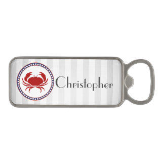 Nautical red crab and grey stripes with name magnetic bottle opener