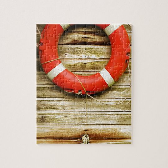 Nautical Red Life Ring Jigsaw Puzzle