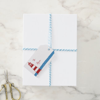 Nautical Red Lighthouse Blue White Stripes Pack Of Gift Tags