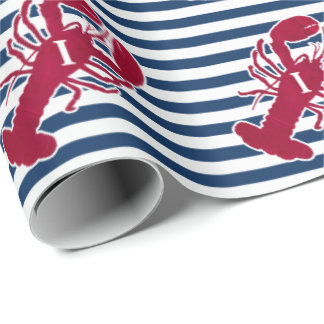 Nautical Red Lobster | Blue and White Stripe | I