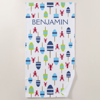 Nautical Red Lobster Buoy Beach House Personalized Beach Towel