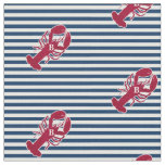 Nautical Red Lobster Monogram Blue White Stripe Fabric