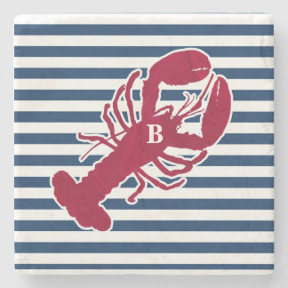 Nautical Red Lobster Monogram Blue White Stripe Stone Coaster