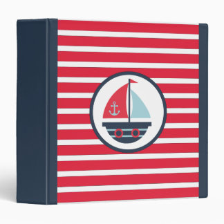 Nautical Red Navy and White Stripes and Sailboat 3 Ring Binder