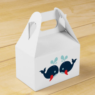 Nautical Red & Navy Blue Whales Wedding / Party Favor Box
