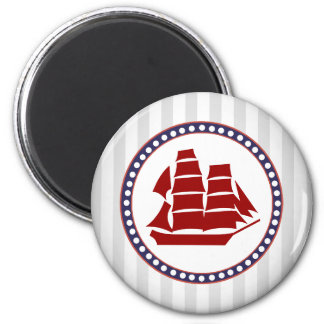 Nautical red sailing ship and grey stripes 2 inch round magnet