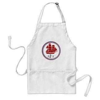 Nautical red sailing ship and monogram standard apron
