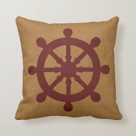 Nautical Red Ship Wheel and Tan Burlap Throw Pillow