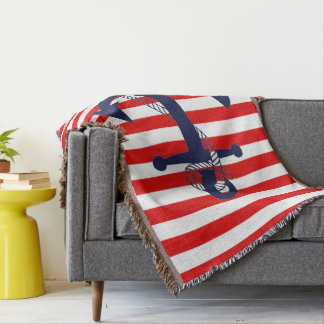 Nautical Red Stripe with Blue Anchor Throw