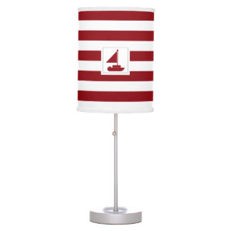 Nautical Red Stripe with Sail Boat Desk Lamp