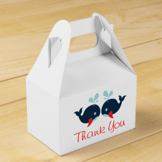 Nautical Red Thank You Navy Blue Whales Wedding Favor Box