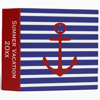 Nautical Red White and Blue Anchor Personalized 3 Ring Binder