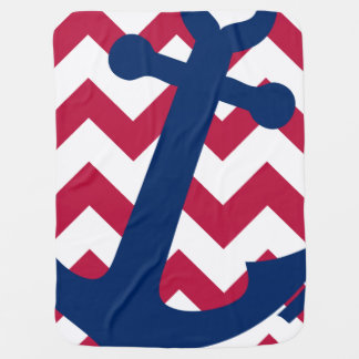 Nautical Red White and Blue Chevron Anchor Baby Blanket