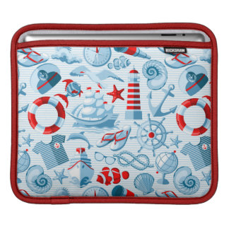Nautical Red White And Blue Pattern iPad Sleeve