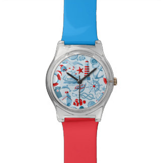 Nautical Red White And Blue Pattern Wristwatch