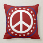 Nautical Red White and Blue Peace Sign and Stars Throw Pillow