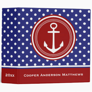 Nautical Red White and Blue Polka Dot Anchor 3 Ring Binder