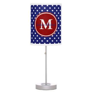 Nautical Red White and Blue Polka Dot Monogram Table Lamp