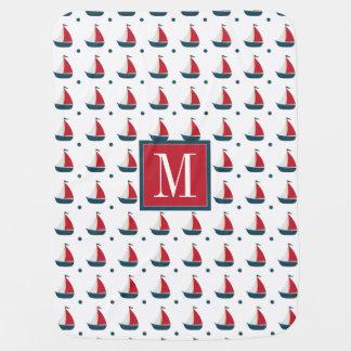Nautical | Red White Blue Sailboats & Polka Dots Baby Blanket