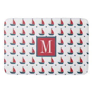 Nautical | Red White Blue Sailboats & Polka Dots Bathroom Mat