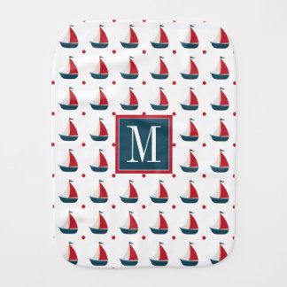 Nautical | Red White Blue Sailboats & Polka Dots Burp Cloth