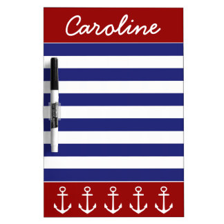Nautical Red White Blue Stripes With Anchors Dry Erase Board