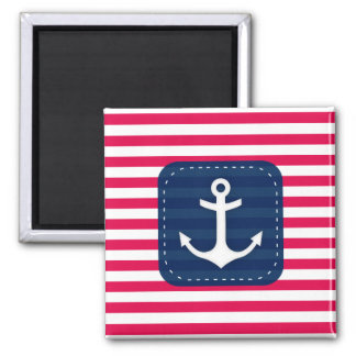 Nautical Red White Stripes Navy Blue Banner Anchor Square Magnet