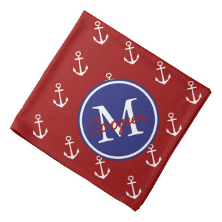 Nautical Red White With Blue Anchor Monogram Bandana