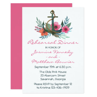 Nautical Rehearsal Dinner Ship Anchor Floral Pink Card