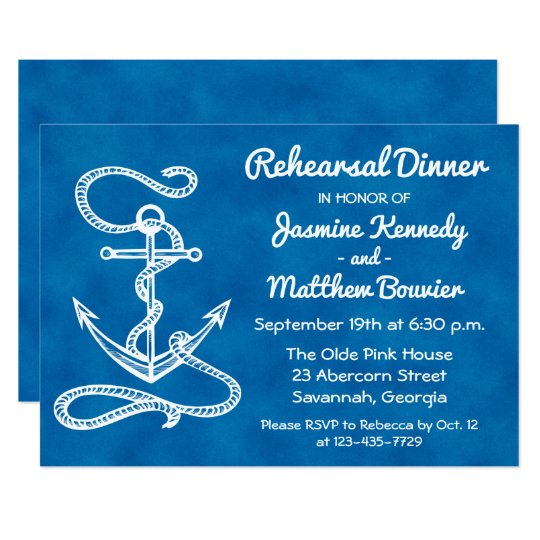 Nautical Rehearsal Dinner Ship Anchor Navy Blue Card