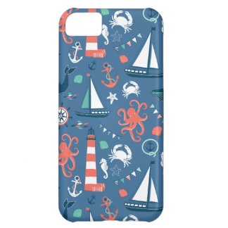 Nautical retro sailor girly pattern with anchors Case-Mate iPhone case