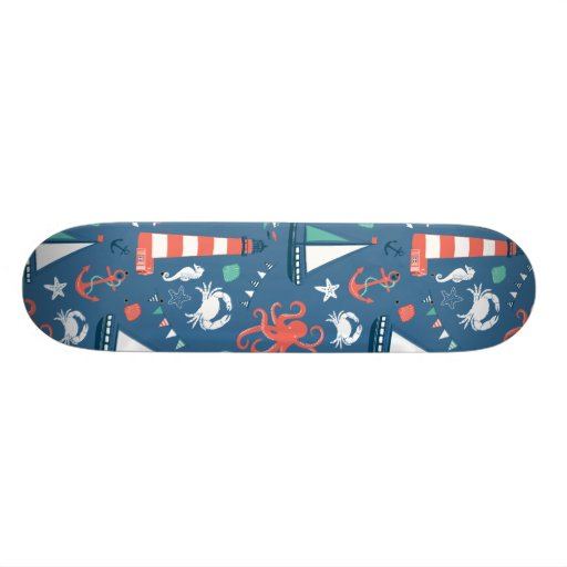 Nautical retro sailor girly pattern with anchors skateboard deck