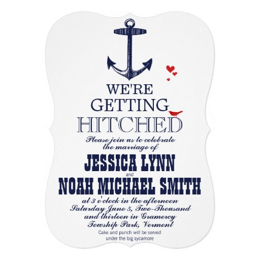 Nautical Romantic Red Bird Navy Anchor Wedding Announcements