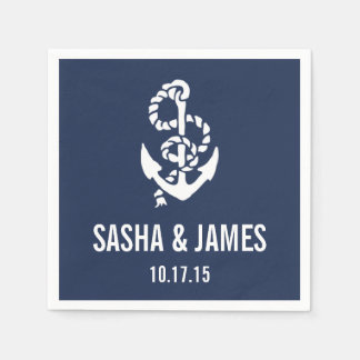 Nautical Rope & Anchor Personalized Paper Napkins