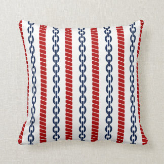 Nautical Rope and Chain Throw Pillow