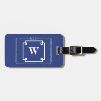 Nautical Rope Blue and White Smart Monogram Luggage Tag