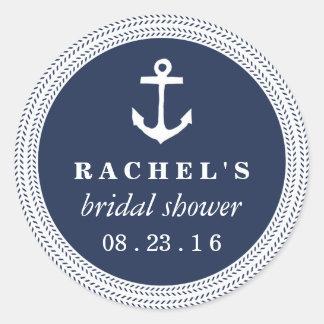 Nautical Rope Braid Bridal Shower Classic Round Sticker