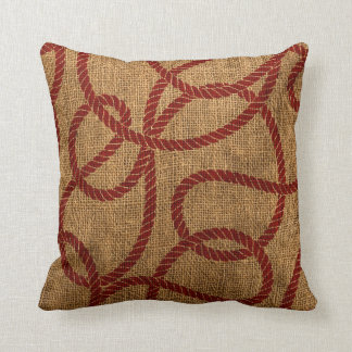 Nautical Rope in Natural and Rustic Red Throw Pillow