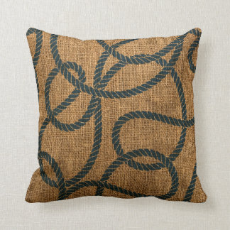 Nautical Rope in Natural with Deep Sea Blue Throw Pillow