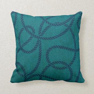 Nautical Rope in Ocean Blue Green Throw Pillow