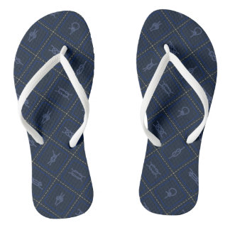 Nautical Rope Knot Pattern Flip Flops