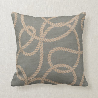 Nautical Rope Pattern Light Blue and Tan Throw Pillow