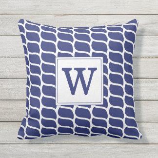 Nautical Rope Pattern Navy Blue Monogram Outdoor Pillow