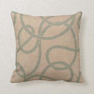 Nautical Rope Seafoam Green and Natural Throw Pillow
