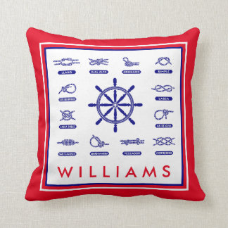 Nautical Rope & Stripes   With Your Name Throw Pillow